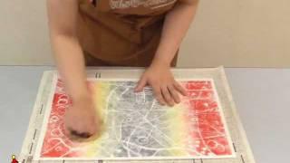 クラフテリオ|スチレン版画-4虹の国・刷り