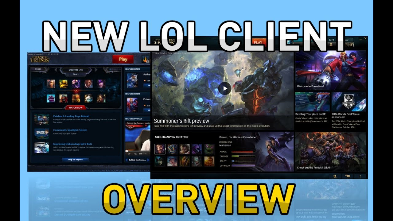 New lol client pbe overview youtube.