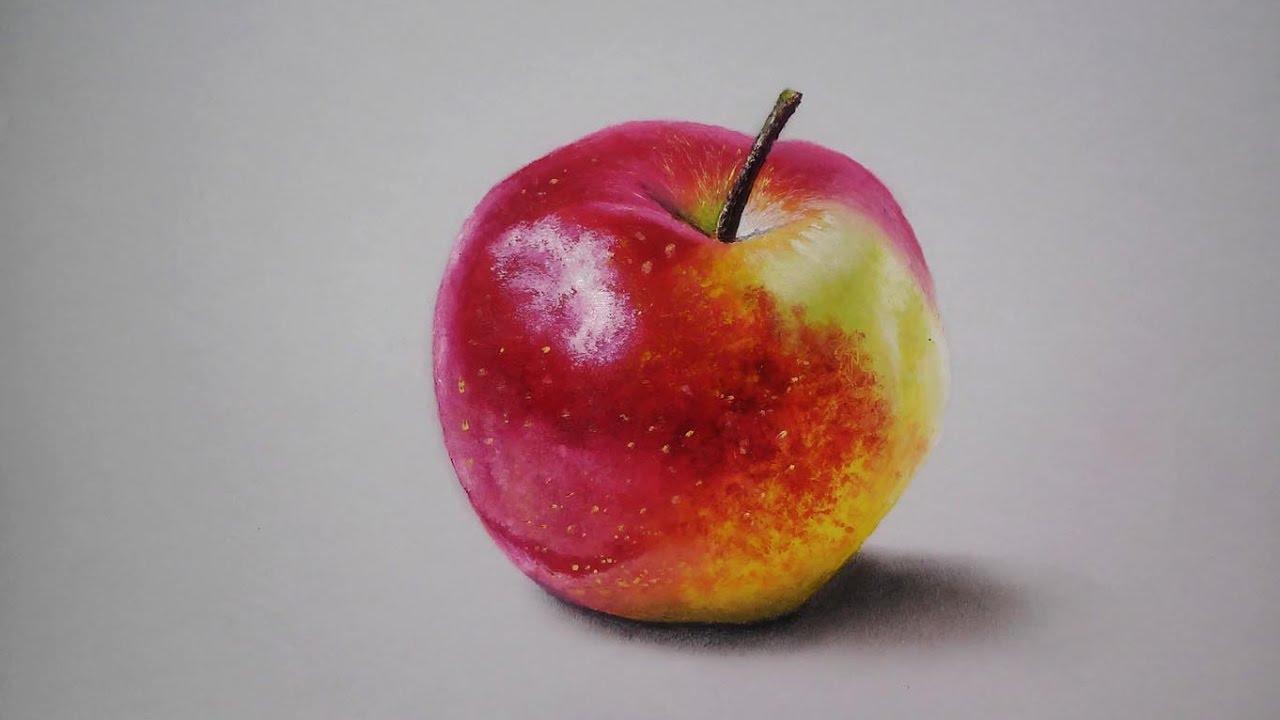 Como Dibujo Una Manzana Realista Con óleos Drawing Apple L Hd 60