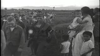 Freed US prisoners of war head back to American lines from Japanese prison at Cab...HD Stock Footage