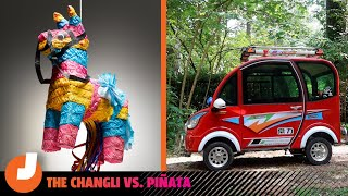 homepage tile video photo for Can the World's Cheapest Electric Car Survive the Piñata Stress Test?  |  Changli vs. Piñata