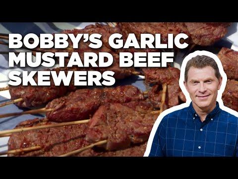 Bobby's Garlic Mustard Beef Skewers | Food Network