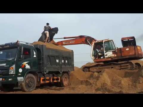 Cần Cẩu máy xúc ,xe xúc làm việc, xúc cát lên oto – kidschitv