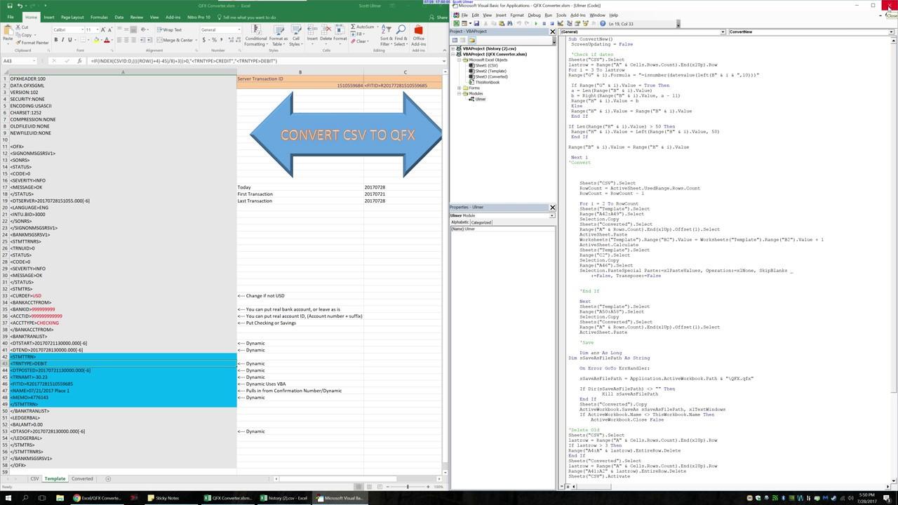 Free Excel CSV to Quicken QFX Converter
