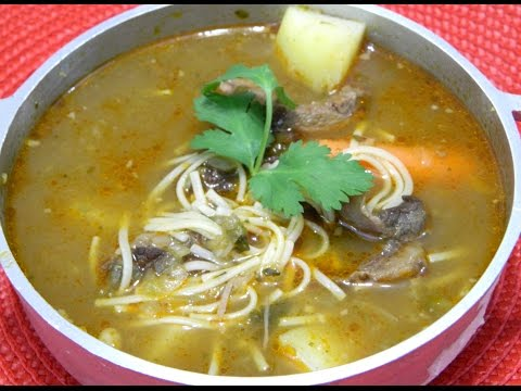 Sopa de Res y Fideos Puerto Rican style Beef and Noodle soup