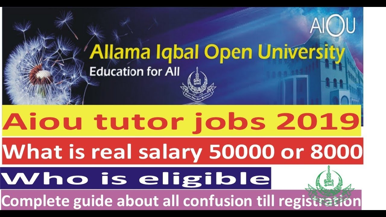 aiou tutorship 2019 aiou tutorshisp salary aiou tutor ship complete