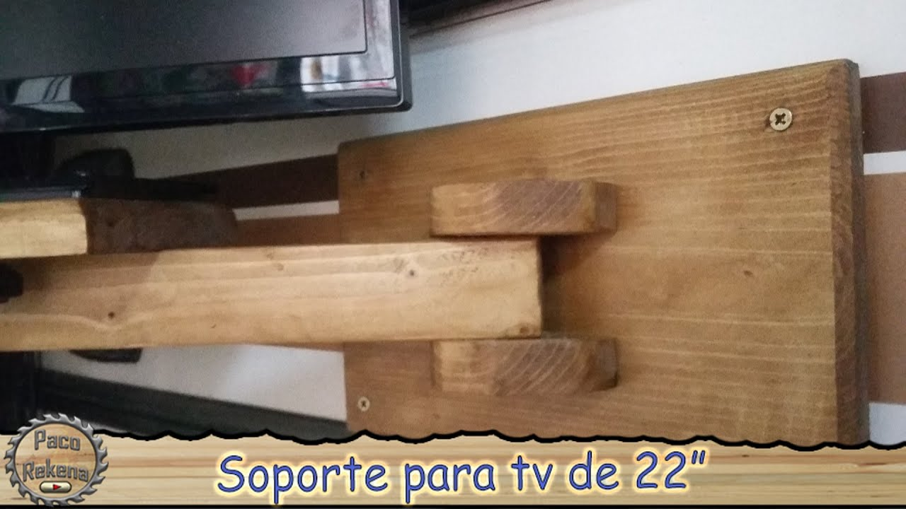 Soporte de madera para tv youtube - Soportes pared tv ...