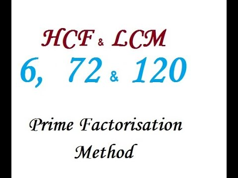 Find the HCF and LCM of 6,  72 and 120 by Prime Factorisation Method.