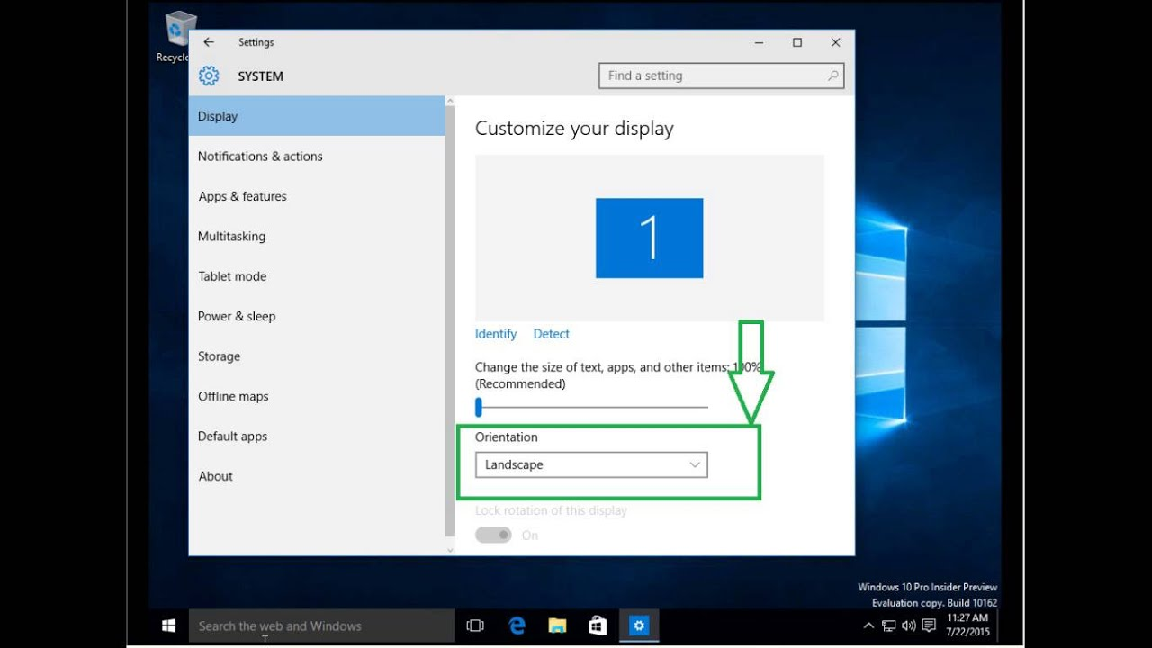 how to change the orientation from portrait to landscape in windows