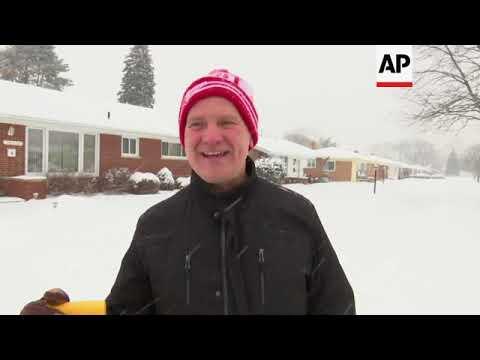 Winter Storm Dumps Snow on Great Lakes Region