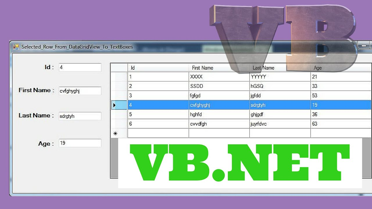 VB NET - Get Selected Row Values From DataGridView Into TextBox In VB NET [  With Source Code ]