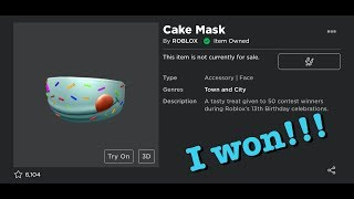 i won the roblox 13th birthday contest