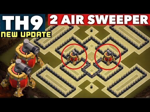 New town hall 9 th9 best war base with 2 air sweepers anti 2 stars