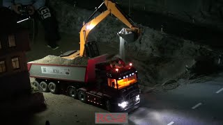 RCTKA Ettlingen - RC trucks and construction machines working by night - part 1