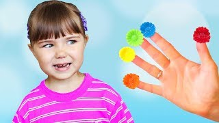 Learn Colors with Balloons Finger Family Song and  Smile with funny girl for baby