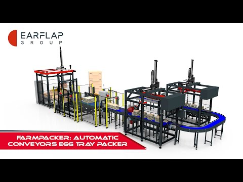 FARMPACKER: AUTOMATIC CONVEYORS EGG TRAY PACKER OR STACKER LINE // EAR-FLAP®