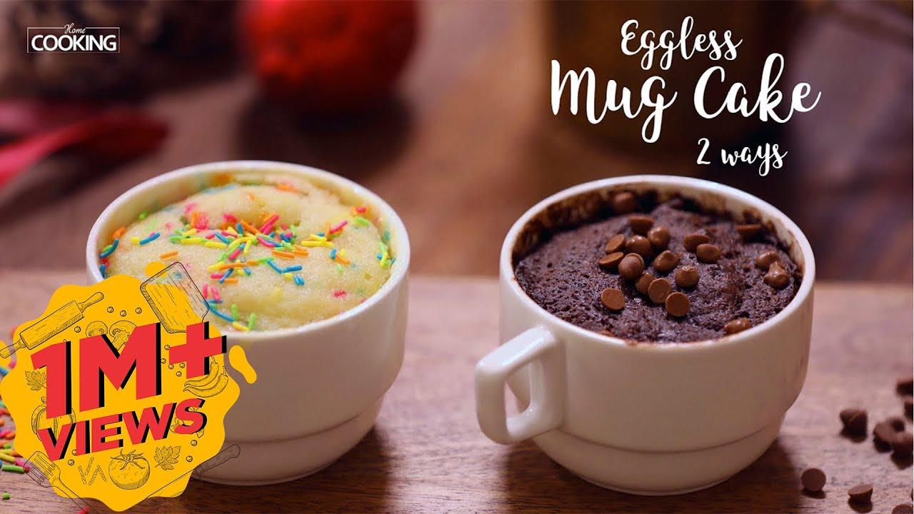 Eggless Mug Cake 2 Ways 2 Mins Mug Cake Microwave Mug Cake Youtube