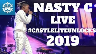 Nasty c's performance at castle lite unlocks, 18 june 2019. tracklist: 1. gravy 2. nda 3. strings and bling 4. jungle 5. juice back 6. particula 7. hell naw ...