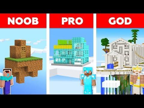 Minecraft NOOB Vs PRO Vs GOD : SKY SECRET BASE CHALLENGE In Minecraft / Animation