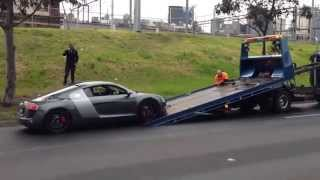 Audi R8 - Super Car Towing - Broken Down - First World Problem Blown Radiator Hose