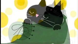 ゆったりした黒ネコの絵本。お茶を飲みながら見てください.