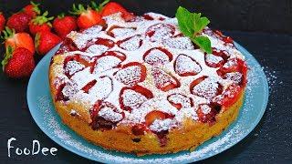 Простейший пирог с клубникой Сочный ароматный и безумно вкусный клубничный пирог  Strawberry pie