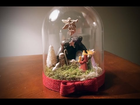 DIY Nativity scene made with buttons