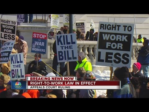 Right-to-work law back in effect after appellate court issues stay