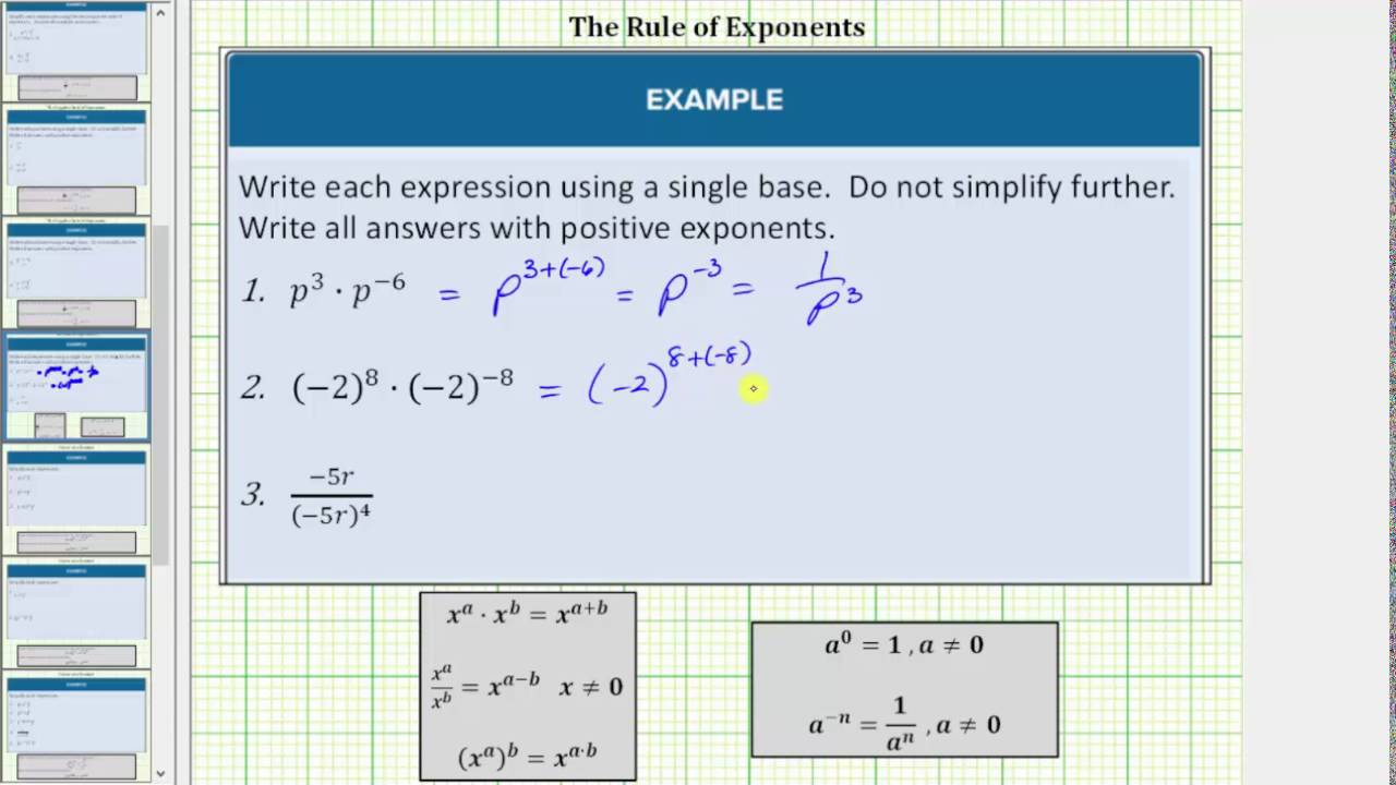 small resolution of Rules of Exponents (solutions