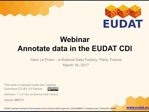 """EUDAT Webinar """"Organise, retrieve and aggregate data using annotations with B2NOTE"""""""