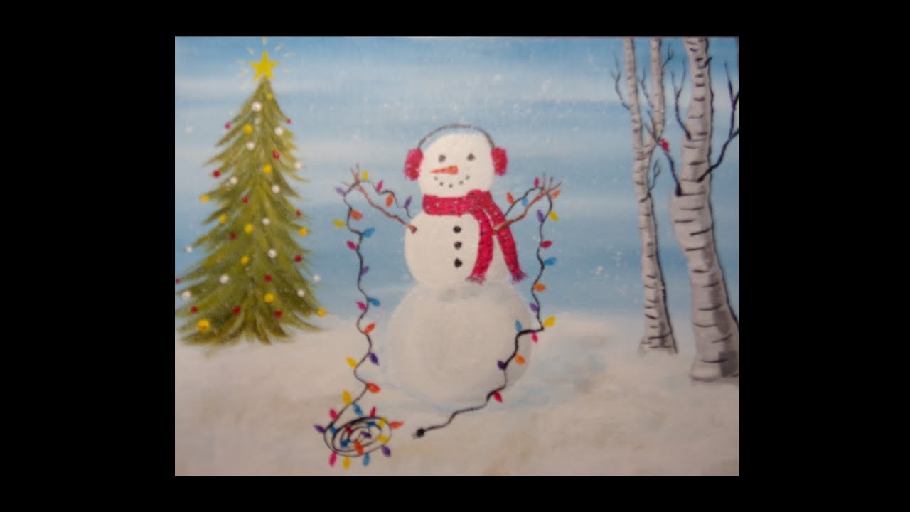 Beginners Acrylic Painting Holiday Snowman With Background Music