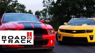 2013 Ford Mustang Shelby GT500 vs. 2012 Chevrolet Camaro ZL1   Road and Track
