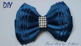 Бантик из ленты Канзаши DIY Kanzashi bow of ribbon Curva da fita Baugen av bånd 3