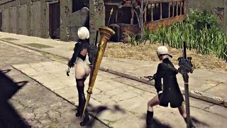 NieR Automata - Sexy Booty (No Clothes) Gameplay | Self Destruct Trick