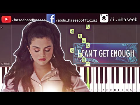 I Can't Get Enough Piano Tutorial Benny Blanco, Tainy, Selena Gomez, J Balvin, Download Free Midi
