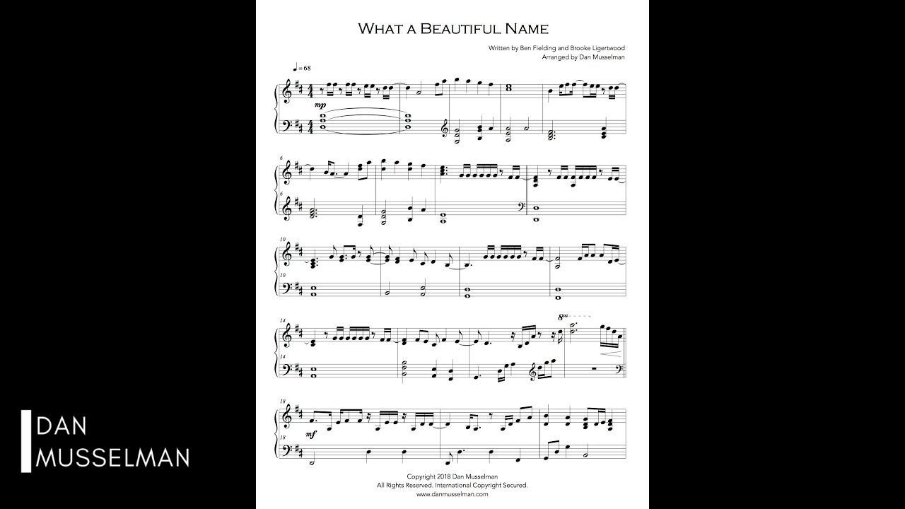 What a Beautiful Name Piano - Simplified Piano Arrangement with Sheet Music
