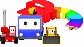 Wyskocznia – naucz się kolorów z Małymi Samochodzikami: buldożer, dźwig, koparka, bajka edukacyjna
