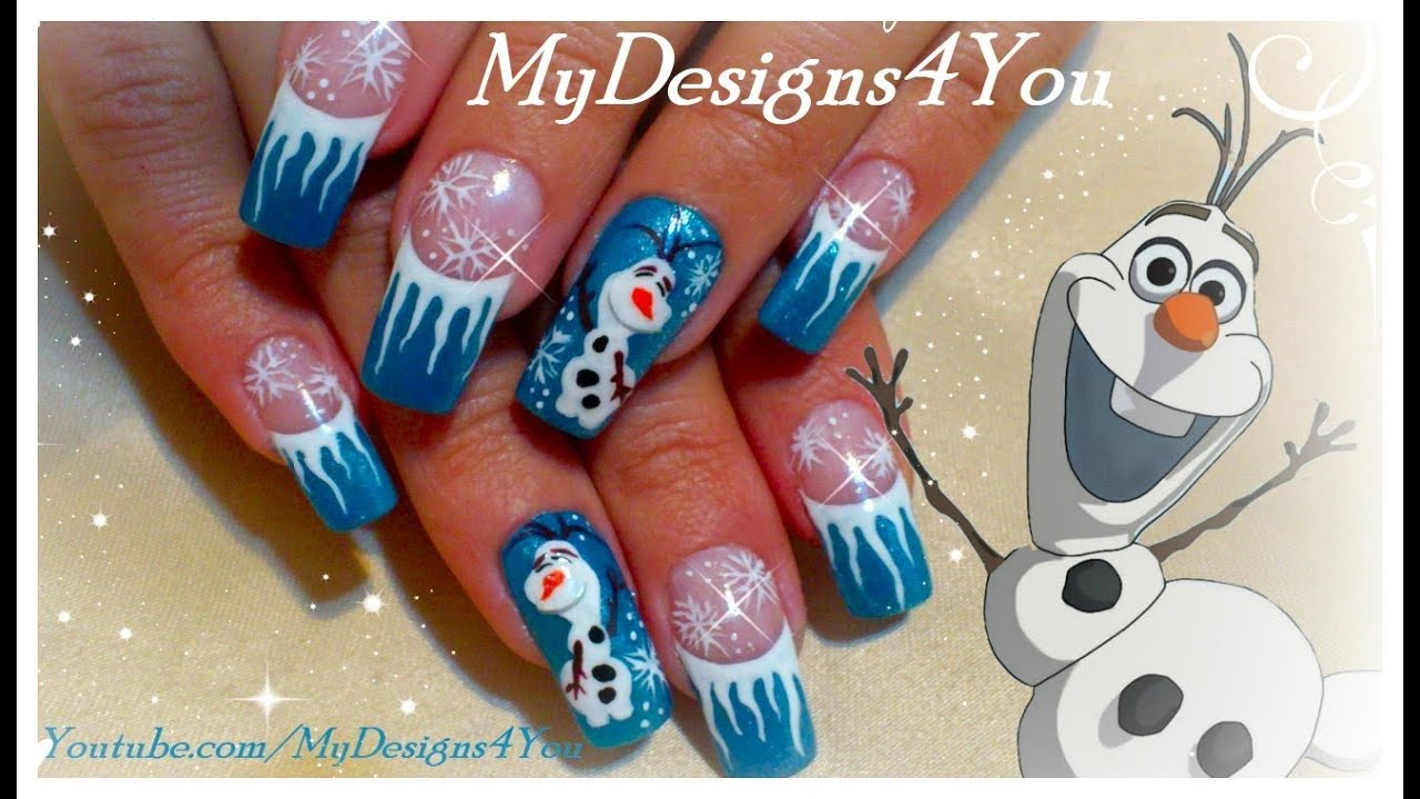 disney olaf frozen nail art design winter nails youtube - Disney Christmas Nails