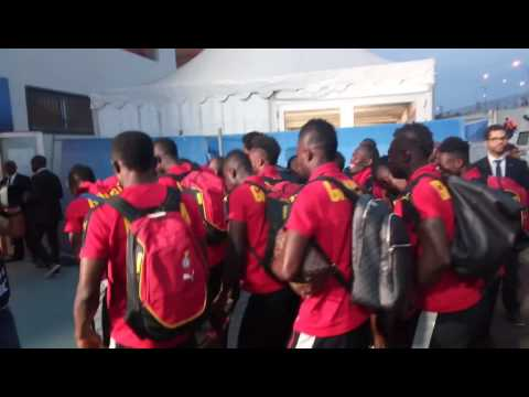 Ghana players arriving for match against Cameroon
