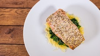 Buttery Soft Baked Dijon Mustard Salmon with 15-Minute Spaghetti Squash and Spinach  TOM TO TABLE