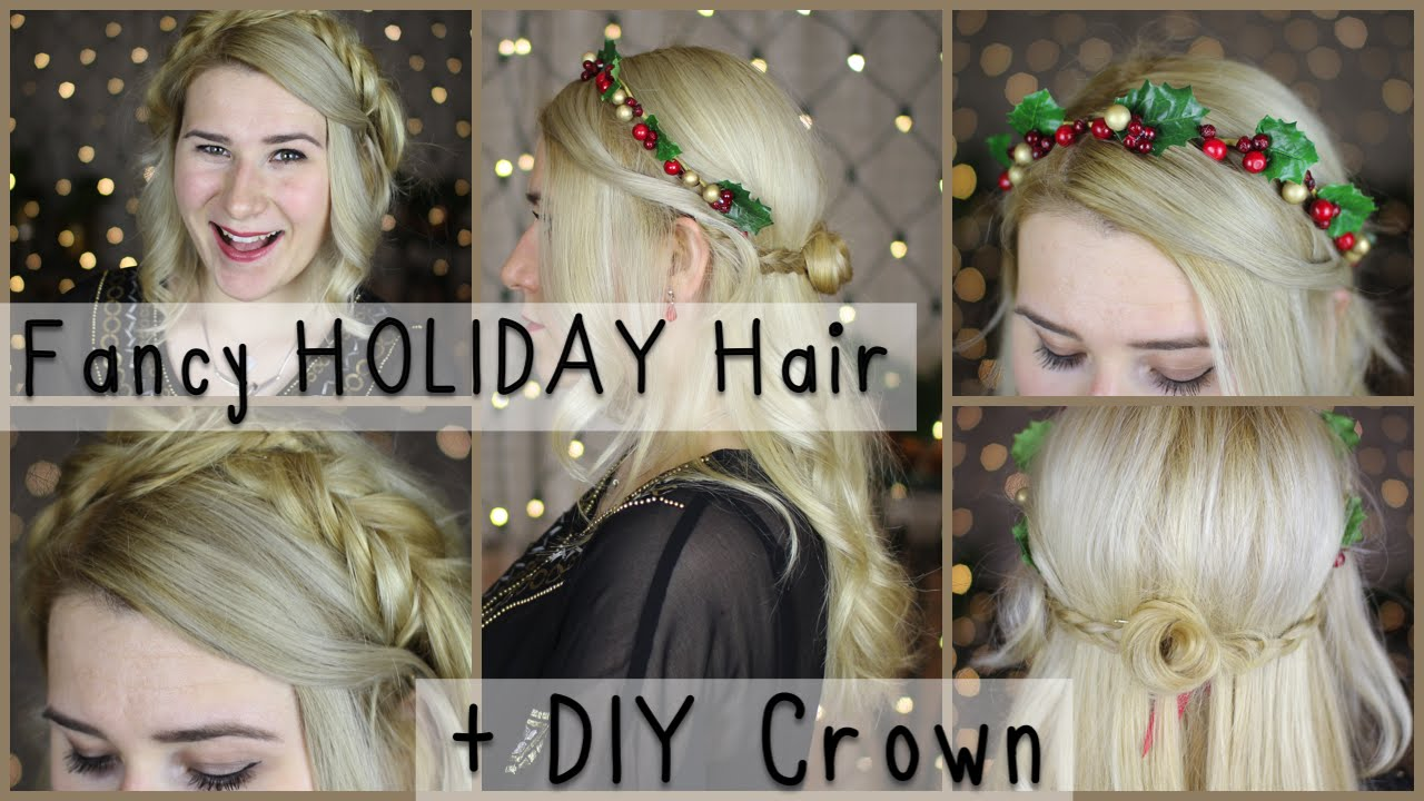 fancy christmas/nye/holiday hairstyles + diy winter flower crown