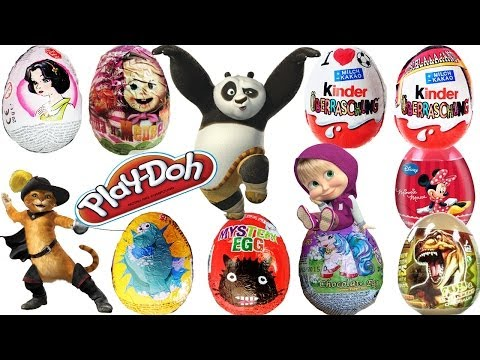 Surprise Eggs Kinder Play-Doh Disney Tinkerbell Masha Medved Superman Kung Fu Panda The Simpsons