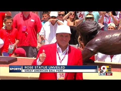 Pete Rose Unveils Bronze Statue At Great American Ball Park