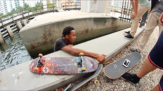Skateboard Falls In Water Then Skaters Get Sacked!