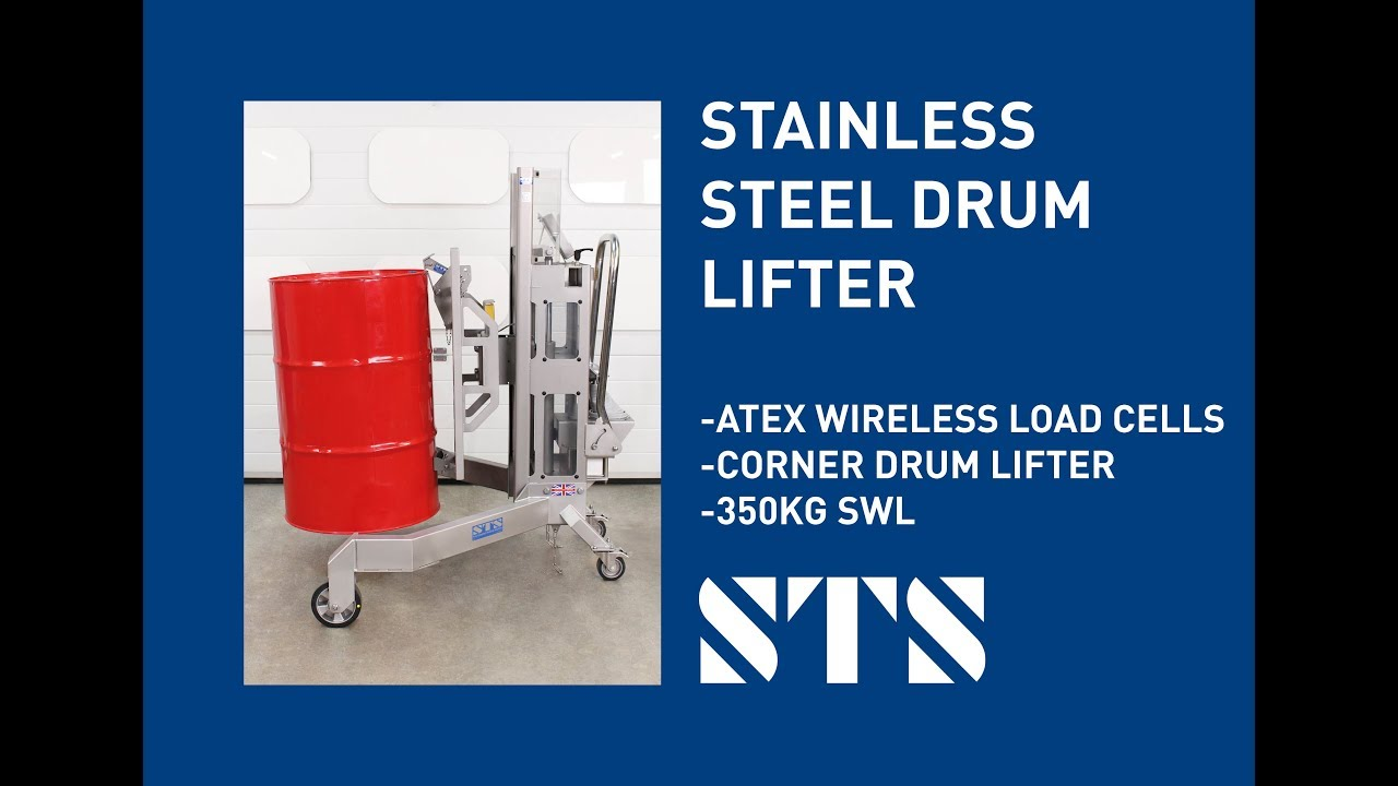 INOX Drum Lifter Depalletiser with ATEX Load-Cell Weighing System