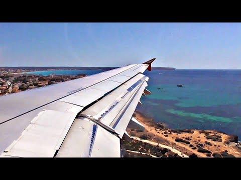Air Berlin Airbus A321 SEASIDE APPROACH and LANDING at Palma de Mallorca Airport