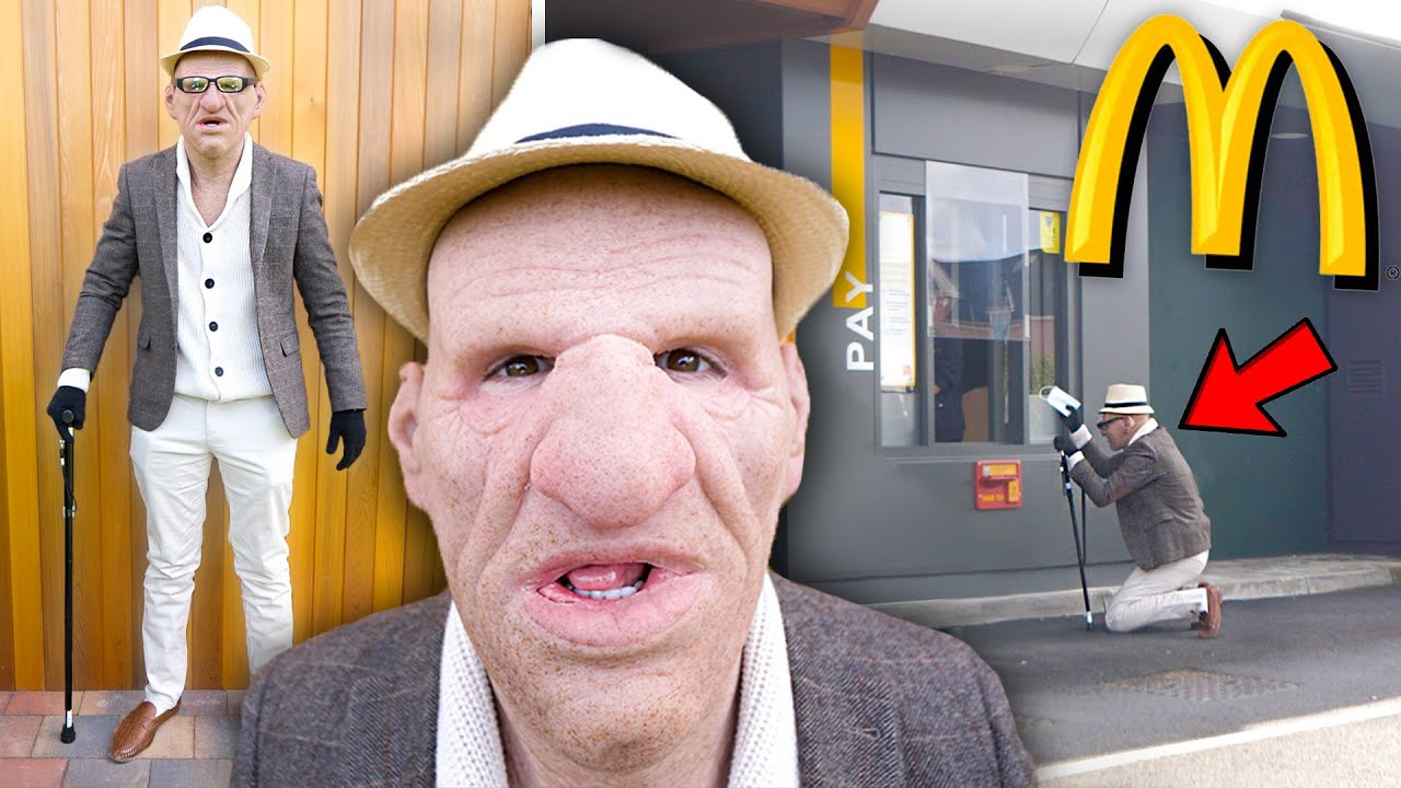 UNDERCOVER As An OLD MAN at McDonalds Drive Thru PRANK