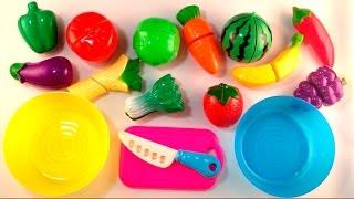 Учим и режем овощи и фрукты на липучках Обучающее видео для детей На русском и английском языке.