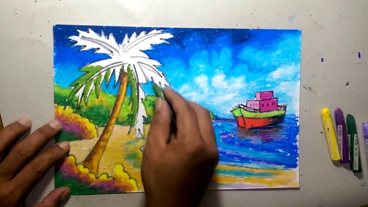 Mewarnai Dengan Crayon Pemandangan Pantai Youtube