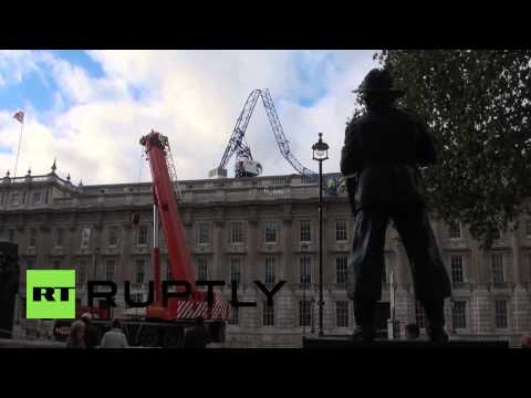 UK: Crane smashes David Cameron's Cabinet Office